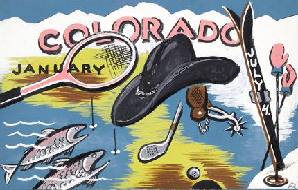 "Arnold Ronnebeck, ""Colorado Sports"", circa 1933 vintage original painting illustration art ski colorado, snow, mountain, ice fishing, golf, tennis, cowboy hat january vintage art for sale"