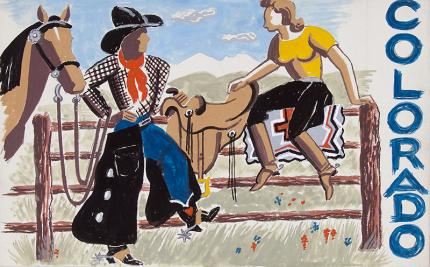 "Arnold Ronnebeck cowgirls painting for sale, ""Colorado #2"", gouache, circa 1933"