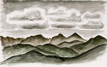 """Arnold Ronnebeck landscape painting for sale, """"Mountains and Sky, Colorado"""", watercolor"""