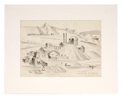 "Arnold Ronnebeck, ""Gold Coin Mines Company, Nevadaville, Colorado"" graphite, 1933 vintage mining mountain regional wpa era painting drawing"