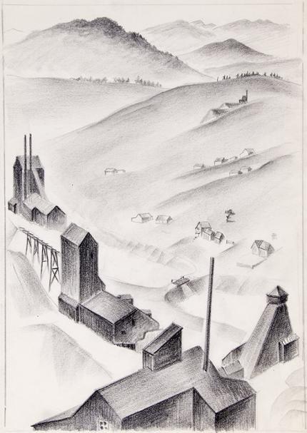 "Arnold Ronnebeck art for sale ""Mining Town, Colorado"", conte crayon, circa 1932 vintage drawing original signed"