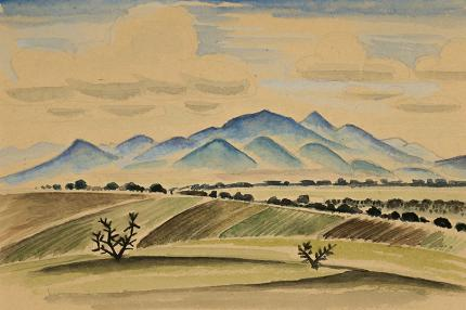 """Arnold Ronnebeck, """"Fields and Mountains, New Mexico"""", watercolor, vintage landscape painting for sale, circa 1927"""