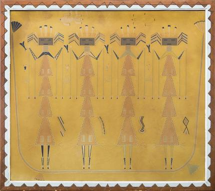 """Red Robin, """"Mountain Chant, representing The Third Day of the Chant"""", permanent sand painting, circa 1930s Native American Indian antique vintage art for sale purchase auction consign denver colorado art gallery museum"""