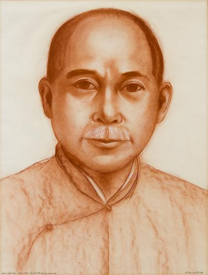 """Angelo di Benedetto original drawing Sun Yat Sen 1866-1925-Final Study for """"Justice Through the Ages, Colorado"""" mural for sale"""