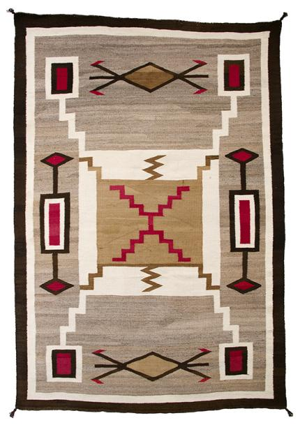 vintage navajo Trading Post Rug for sale, Navajo, early 20th century, area rug, floor rug, wall hanging, gray, brown, tan, white, cream, red, lightning bug, storm pattern