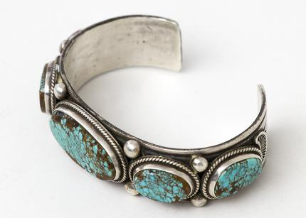 Vintage Old Pawn Navajo cuff bracelet silver turquoise jewelry 19th century Native American Indian antique vintage art for sale purchase auction consign denver colorado art gallery museum