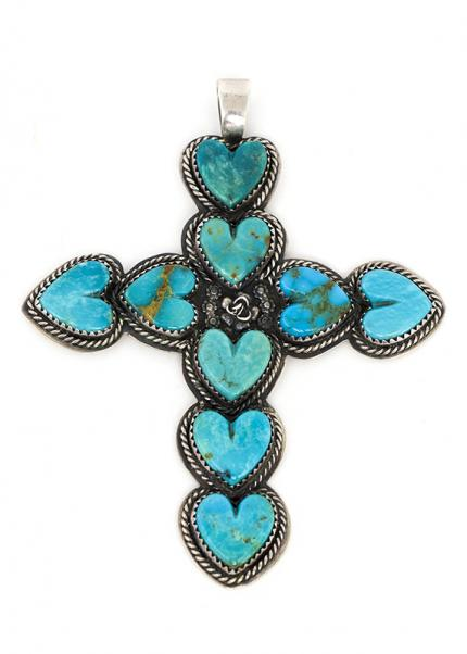 Navajo cross pendant with heart shaped turquoise sterling silver by La Rose Ganadonegro old pawn style