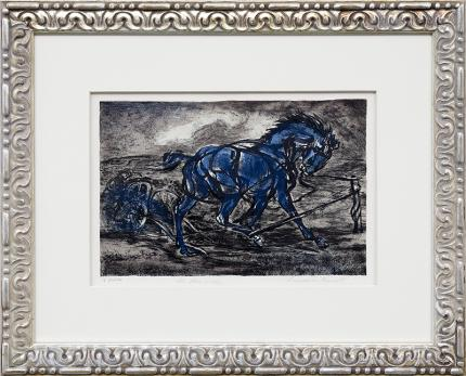 "Lawrence Barrett vintage horse lithograph for sale ""The Runaway"", circa 1940 colorado art"