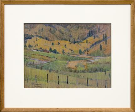 "John Edward Thompson, ""Colorado"", colored pencil, 1914 original signed painting fine art for sale purchase buy sell auction consign denver colorado art gallery museum"