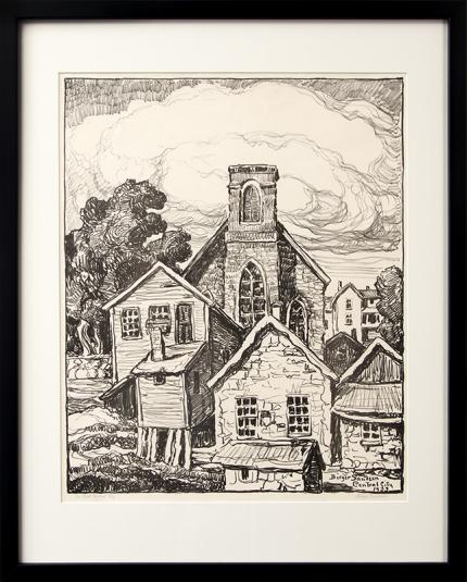 "Birger Sandzen, ""In Old Central City (Colorado Mining Town)"", lithograph, 1933 sven original vintage signed painting fine art for sale purchase buy sell auction consign denver colorado art gallery museum"