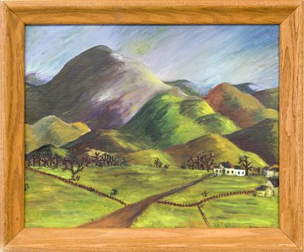 """Muriel Swanson """"Gunnison, Colorado"""" 1947 Zagoren vintage oil painting fine art for sale purchase buy sell auction consign denver colorado art gallery museum"""