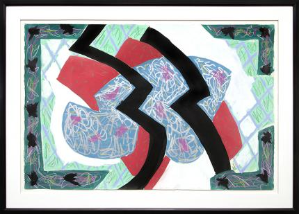 """Sidney Guberman abstract painting for sale, """"Faulkner in Fresno"""", mixed media, 1986, red, blue, black, white, green, purple"""