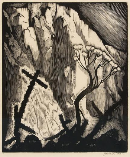 "Howard Cook, ""Sage and Cactus, 50"", woodcut (Woodblock), 1927 norton painting fine art for sale purchase buy sell auction consign denver colorado art gallery museum"