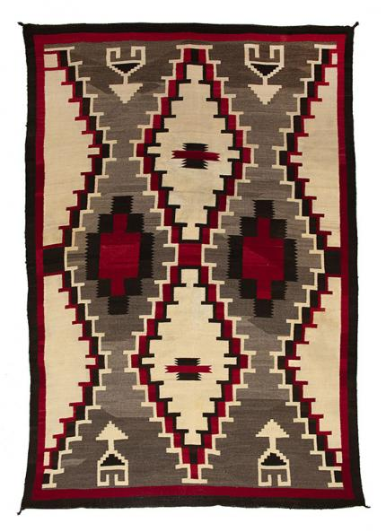 vintage navajo rug, ganado trading post, circa 1930, red, ivory, white, black, gray, brown