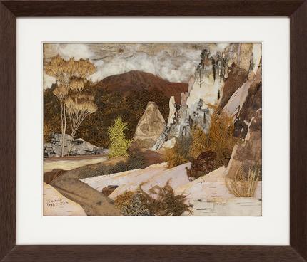 Pansy Stockton, Up Santa Clara Canyon (New Mexico), Sun painting assemblage, landscape, circa 1930, cornelia
