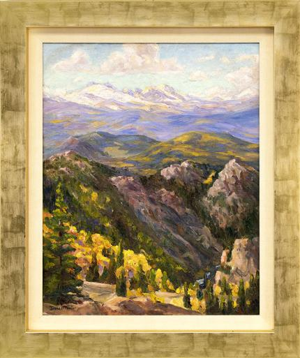 "Irene Fowler, ""Boulder Canyon (Colorado Mountain Landscape in Autumn)"", original vintage oil painting, circa 1930 - 1950"