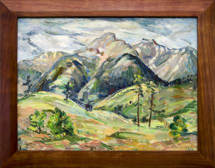 Zola Zaugg, Mountain Landscape, Colorado Springs, oil painting, vintage 1953, broadmoor academy, woman artist, women, bunnell student, colorado springs fine arts center, green, blue, white, yellow, red, spring, summer, snow, peaks