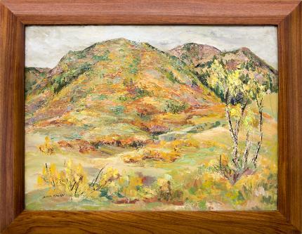 Zola Zaugg, vintage painting for sale, Colorado Mountain Landscape, Autumn, near Colorado Springs, oil, circa 1950, Broadmoor Academy, woman artist, Colorado Springs Fine Arts Center