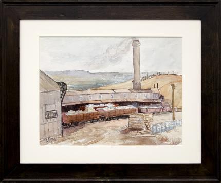 "Zola Zaugg, vintage painting for sale, ""Golden Cycle Mine (Old Colorado City, Colorado)"", watercolor, 1940, architecture, exploration, ore cart, mountain, woman artist, women, broadmoor academy, colorado springs fine arts center"