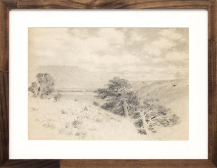 """Charles Partridge Adams, """"Untitled (Southern Colorado Landscape)"""", drawing, vintage, original, graphite, early 20th century, tonalist, hudson river, tree, mountain, landscape, black, white, gray, clouds"""