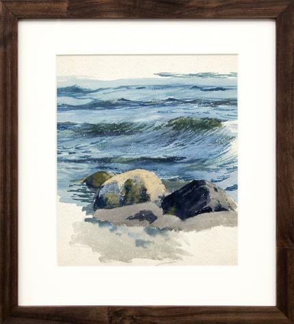 Charles Partridge Adams, Waves and Rocks, California Coast, painting for sale, marine, pacific ocean, beach, mixed media, circa 1920