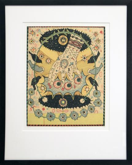 "Tony Fitzpatrick, ""Hand of Ishmael"", mixed media, 1997 painting fine art for sale purchase buy sell auction consign denver colorado art gallery museum"