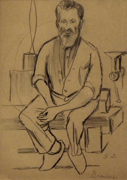 """Adolf Arthur Dehn, """"Brancusi"""", graphite, c. 1940"""