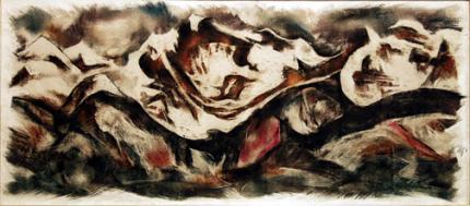 "Howard Norton Cook, ""Merino Valley"", mixed media, c. 1950"