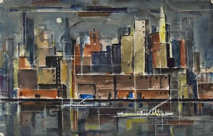 """Charles Ragland Bunnell, """"Untitled (New York)"""", watercolor, 1950 painting fine art for sale purchase buy sell auction consign denver colorado art gallery museum"""