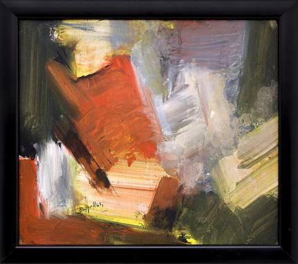 Charles Ragland Bunnell, Abstract Expressionist Painting for sale, mid-century modern, in Red, Gray, Green, Black and Yellow, oil, 1965, broadmoor academy, colorado springs fine arts center