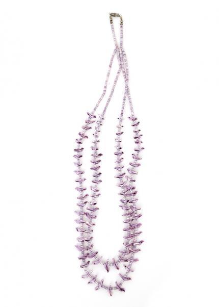 vintage native american indian Necklace, jewelry, Zuni, Pueblo, heishi, birds, purple, white