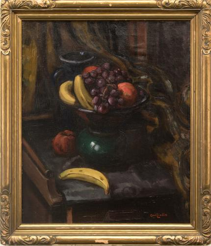 """Carl Eric Olaf Lindin, """"Still Life (with Bananas)"""", oil, c. 1925 for sale purchase consign auction denver Colorado art gallery museum"""
