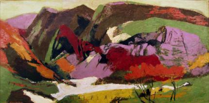 "Ethel Magafan, ""Snow on the Meadow"", casein, c. 1945"