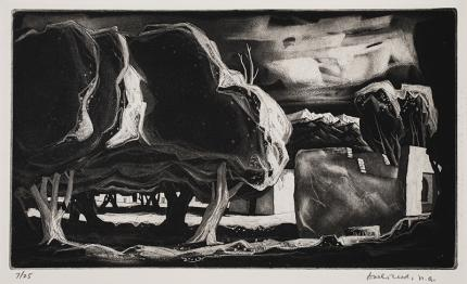 Doel Reed aquatint for sale ancient apple trees New mexico landscape artist national academy vintage 20th century oklahoma artist etching