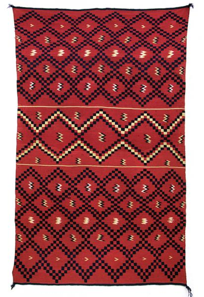classic period Serape sarape , Navajo, circa 1860 pre reservation native american indian antique, rug, textile, red, blue, cochineal, indigo, rabbitbrush