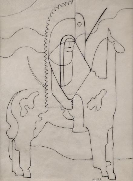 Hilaire Hiler Native American indian plains chief feather headdress cheyenne horse pinto black and white line drawing modernist abstract