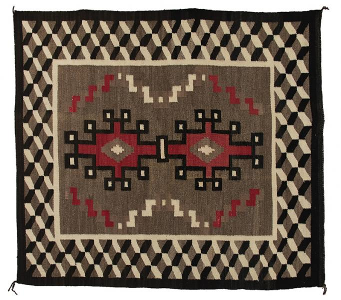 Navajo Rug vintage trading post 1940 1930 1920 wool textile weaving 19th century Native American Indian antique vintage art for sale purchase auction consign denver colorado art gallery museum
