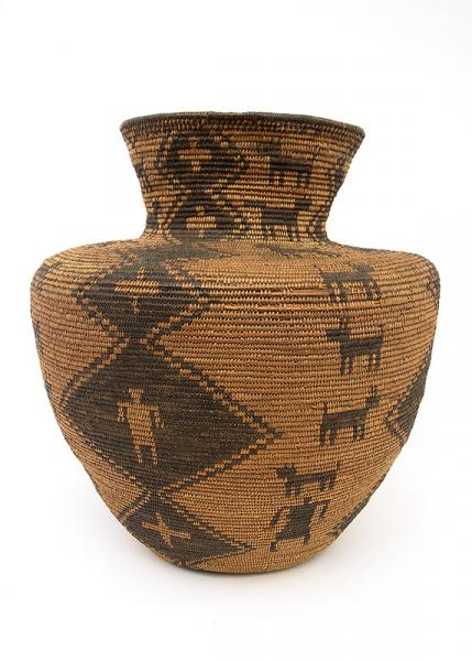 Apache Basketry pictorial Olla 19th century Native American Indian antique vintage art for sale purchase auction consign denver colorado art gallery museum