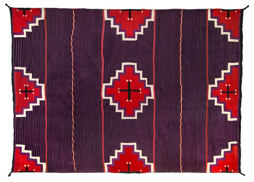 navajo moki blanket chief blanket cross  19th century Native American Indian antique vintage art for sale purchase auction consign denver colorado art gallery museum