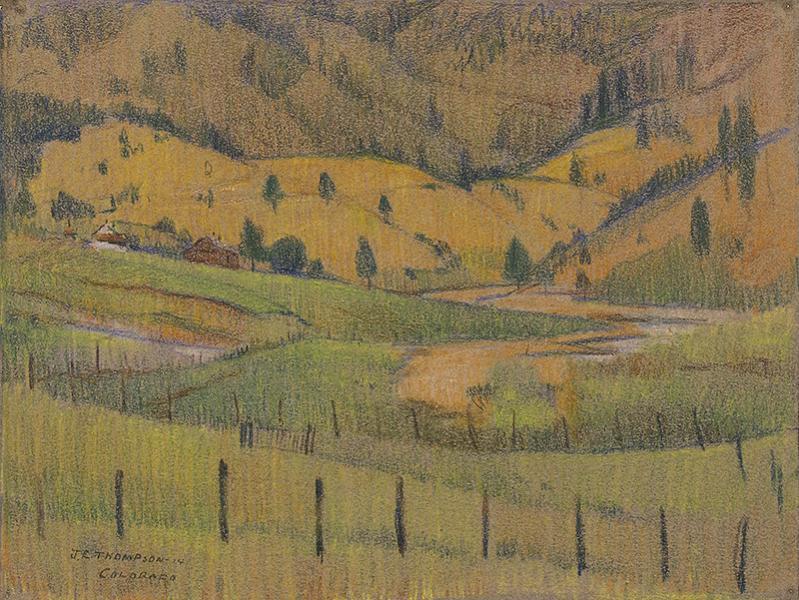 John E Thompson modernist colorado landscape vintage original signed color pencil drawing painting