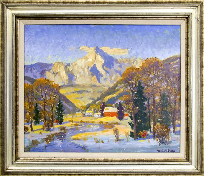 Harold Skene vintage painting for sale, Colorado Winter (Mountain Landscape with river and Snow)
