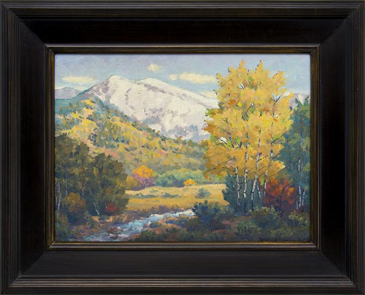 Harold Skene Blanca peak, Colorado Mountain Landscape, vintage oil Painting for sale, 1959