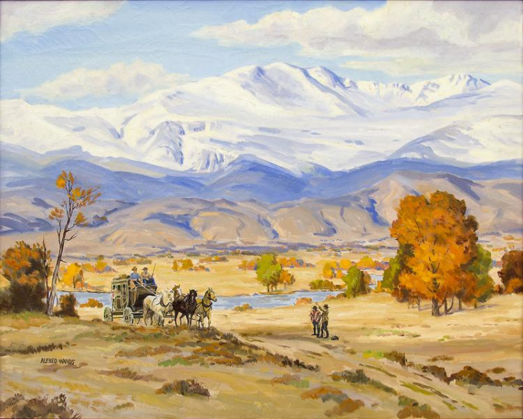 alfred james wands vintage art for sale, stage coach, mountain landcape painting