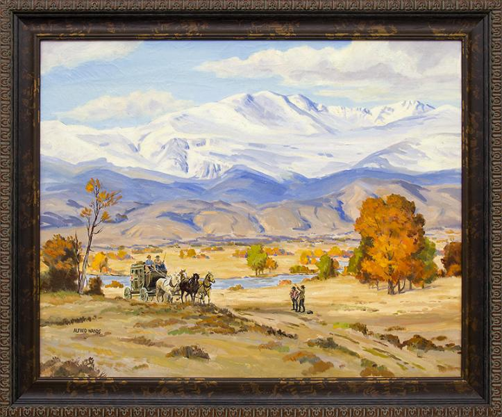 Alfred Wands, Stage Coach, Colorado Mountain Landscape, vintage oil painting for sale, autumn trees, river, snow, mountains, horses, cowboys, western, traditional