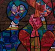 Edward Marecak oil painting Oh What a Tangled Web We Weave cubist modernist denver colorado mid-century modern