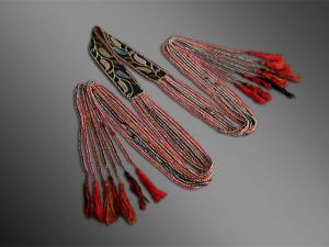 Creek Indian beaded sash, 19th century beaded native american sash, beaded sash with red and black