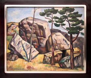 """Jan Matulka, """"Untitled (Landscape with Rocks and Trees)"""", oil, circa 1930 painting for purchase sale consignment auction denver colorado art gallery museum"""
