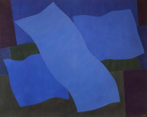 """Margo Hoff, """"Flying Blue"""", acrylic, 1979 abstract painting fine art for sale purchase buy sell auction consign denver colorado art gallery museum"""