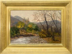 """Charles Partridge Adams, """"Clear Creek (Colorado Mountain Landscape)"""", oil painting, for sale, 1890, 19th century, autumn, fall color, tree, river, mountain, landscape, brown, green, gold, blue, brown, white, yellow"""