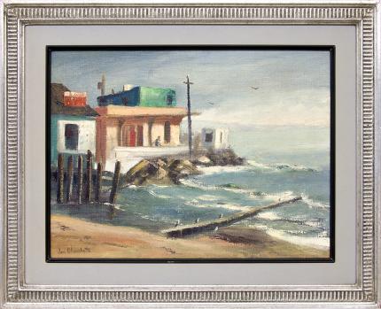 Jon Blanchette, Capitola (California), oil painting, circa 1955, fine art for sale, California coastal landscape, framed california landscape, california landscape painting, 1950s original painting, mid century fine art